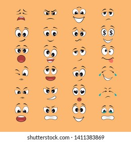 cartoon expressions with mouths and eyes white and black with yellow background. set of vectors - Vector
