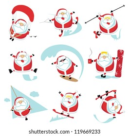 Cartoon extreme Santa  set ?1. EPS 10. Separate layers
