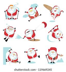 Cartoon extreme Santa  set ?2. EPS 10. Separate layers