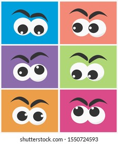 cartoon eyes character looking at each other concept
