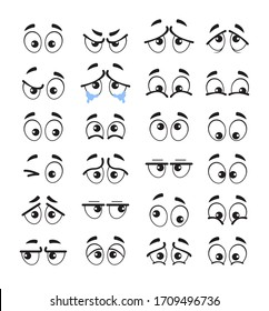 Cartoon eyes emotion characters isolated set. Vector flat cartoon graphic design illustration