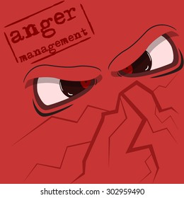 "Cartoon eyes expressing anger. Vector sign ""Anger management"""