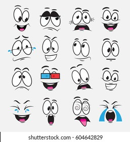 Cartoon eyes with expression and emotions, a set of icons, joy, sadness, laughter, reverie, fear, watch a movie, cry. Illustration with funny cartoon eyes