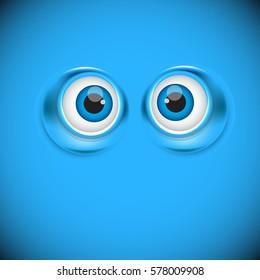 cartoon eyes as funny symbol, vector illustration background