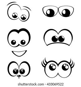 Cartoon eyes. Set of monochrome icons in thin line style.  Simple set of user related vector line icons for web graphics. Different emotions and actions isolated on white background.
