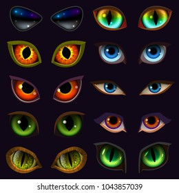 Cartoon eyes vector devil eyeballs of beast or monster and animals scary expressions with evil eyebrow and eyelashes illustration set of eyes isolated on black background