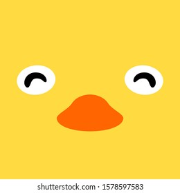 Cartoon face of a chick. cute simple animal face for t shirt kids design