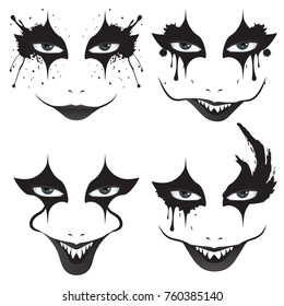 Cartoon face with creepy make up for Halloween.