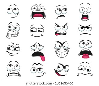 Cartoon face expression isolated vector icons, funny emoji exhausted, yelling and scared, shocked, angry, gloat and sad. Facial feelings, emoticons upset and show tongue. Cute face expressions set
