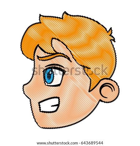 cartoon face prince profile fantasy character stock vector royalty