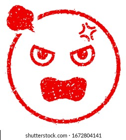 Cartoon face rubber stamp vector illustration / angry