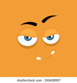 Cartoon face with a smug expression on a yellow background.