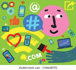 Cartoon Face, Social Media Symbols and Wireless Devices, Hand Paints Wifi Icon, Consumer Engagement, Customer Satisfaction, Social Media Platforms, Influencer Marketing, Grunge Texture Illustration