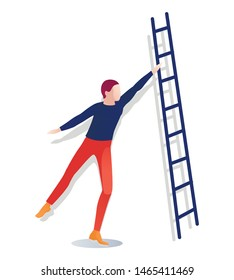 Cartoon Faceless Man Character Holding Ladder. Flat Guy Standing Isolated on White. Librarian, Teacher or Bookseller at Work. Vector Illustration. Education and Making Knowledge Grow. Book Festival