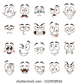 Cartoon faces. Caricature comic emotions with different expressions. Expressive eyes and mouth, funny flat vector characters angry and confused emoticons set