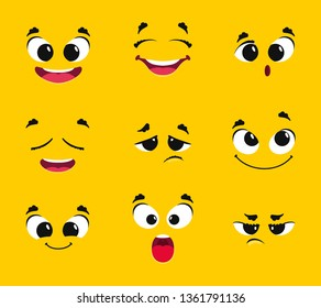Cartoon faces collection. Different emotions smile joy surprise sadness anger longing fright vector emoticons