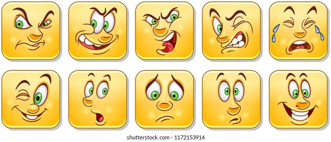 Cartoon faces collection. Emoticons. Emoji. Design characters for kids coloring book, colouring pages, t-shirt print, icon, logo, label, patch, sticker.