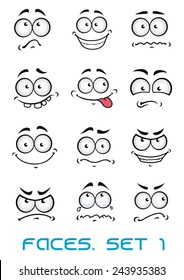 Cartoon faces with different emotions as  happiness, joyful, comics, surprise, sad and fun