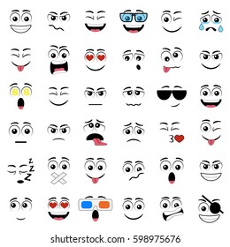 Cartoon faces with different expressions, featuring the eyes and mouth, design elements on white background
