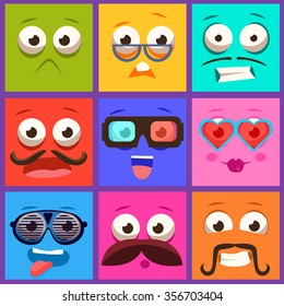 Cartoon faces with emotions and mustache. Vector collection