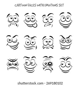 Cartoon faces with emotions set. Expression and emotion, smile and angry, funny and sad, vector illustration