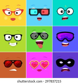 Cartoon faces with emotions v.12 - woman, 3d glasses, geek, hipster, club, snowboarding, sunglasses, heart, thief mask