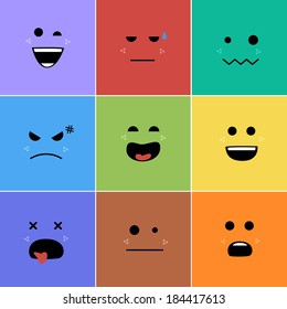 Cartoon faces with emotions v.2