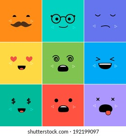 Cartoon faces with emotions v.3