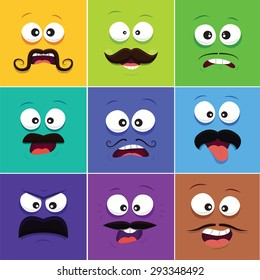 Cartoon faces with emotions v.8 (Mustache)