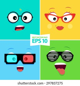 Cartoon faces with emotions - Woman glasses, 3d glasses, Geek glasses, Club glasses