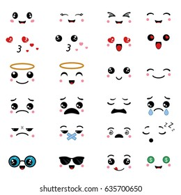Cartoon faces expressions. Emotions for design. Anime style.