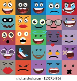 Cartoon faces expressions vector
