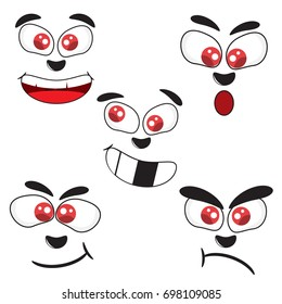 Cartoon faces expressions vector set, Various facial expression, expression character, smile funny and angry, vector illustration