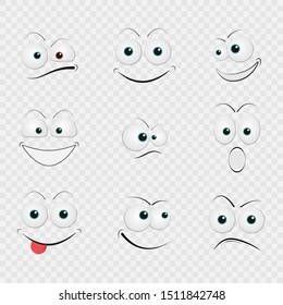 Cartoon faces with funny expressions vector set. On transparent background.