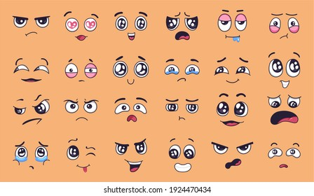 Cartoon faces. Happy and sad mood facial expressions. Laughing, smiling mouth and crying eyes. Different moods vector set. Illustration eye sad emotion, expression cry and smile