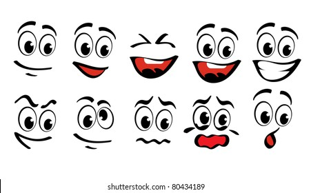 Cartoon faces  for humor or comics design
