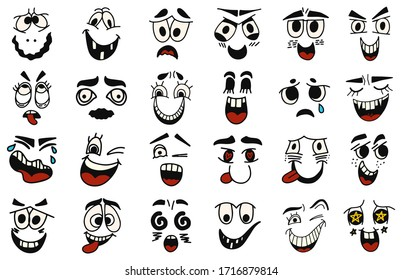 Cartoon faces. Kawaii cute faces. Expressive eyes and mouth, smiling, crying and surprised character face expressions. Caricature comic emotions or emoticon. Isolated vector illustration icons set.