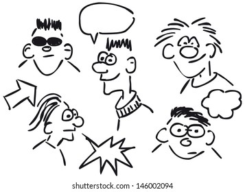cartoon faces on white background - sketch illustration
