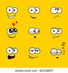 Cartoon Faces with Various Expressions on Yellow Background
