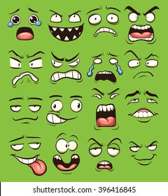 Cartoon faces. Vector clip art illustration with simple gradients. Each on a separate layer.