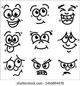 Cartoon facial expressions set. vector illustration.