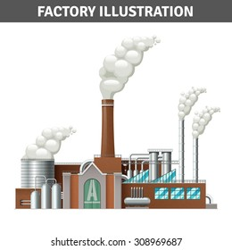 Cartoon factory building illustration with steam and cooling system vector illustration