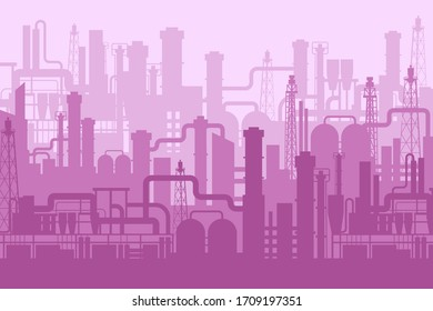 Cartoon factory manufacturing industrial plant scenery background. Futuristic pink manufacture design silhouette backdrop. Abstract building and construction exterior machinery engineering innovation