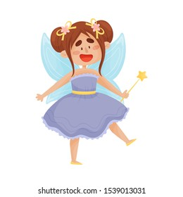 Cartoon fairy in a blue dress. Vector illustration on a white background.