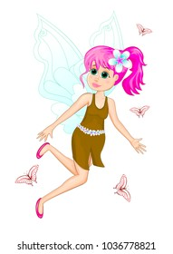 Cartoon fairy in dress and with flower in hair on white background. Flying fairy and butterflies.