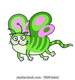 Cartoon fairy green cat flight. Cute fur character. White color background. Cheerful fantasy animal. Vector illustration.