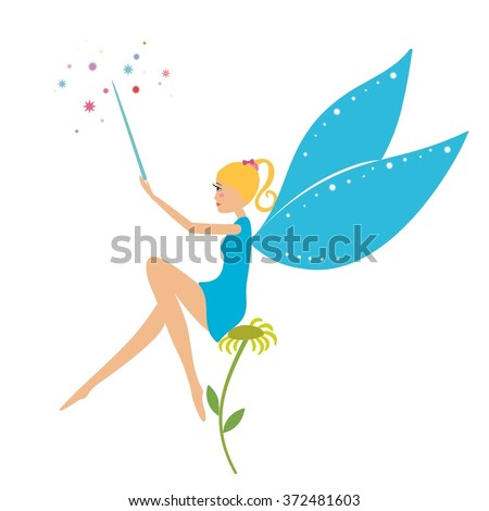 Cartoon Fairy Magic Wand Sitting On Stock Vector (Royalty Free ...
