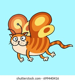Cartoon fairy orange cat flight. Cute fur character. Blue color background. Cheerful fantasy animal. Vector illustration.
