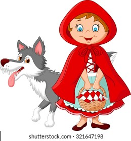 Cartoon fairy princess with robe and cute wolf