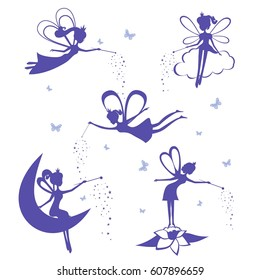 Cartoon fairy silhouette vector set. Set of Blue Fairies Silhouette stencil isolated on white background. Fairies vector illustration.